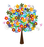 Floral tree. Vector floral tree with flowers and dragonflies Royalty Free Stock Photo