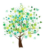 Floral tree. Vector floral tree with birds and butterflies Stock Image