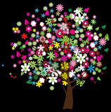 Floral tree. With butterflies on the black background Royalty Free Stock Photos