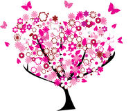 Floral tree. In the shape of a heart Stock Images