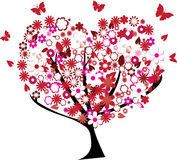 Floral tree. In the shape of a heart Royalty Free Stock Photography