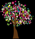 Floral tree. Isolated on black Stock Photos