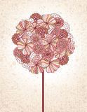 Floral Tree. Hand drawn flowers make up the leaves of this retro tree Stock Photography