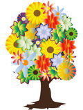 Floral tree. Colorful tree with different flowers Royalty Free Stock Photos