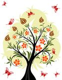 Floral tree. With butterfly, element for design, vector illustration Stock Images