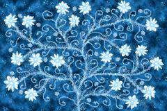 Floral tree. Blue floral tree on starry abstract background royalty free stock photography