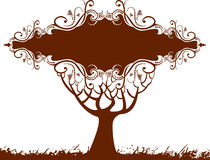 Floral tree banner. A floral tree banner in brown with room for text or copy Stock Photo