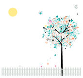 Floral Tree Beautiful, Birds On Fence Stock Photography