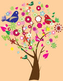 Floral tree with birds Royalty Free Stock Image