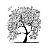 Floral tree, black silhouette for your design Royalty Free Stock Photo
