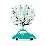 Floral tree on the car roof. Vector illustration Royalty Free Stock Photo