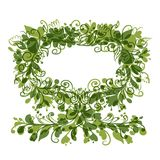 Floral tree green with frame for your text Royalty Free Stock Image