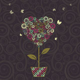 Floral tree, heart shape in pot for your design. Royalty Free Stock Image