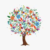Spring tree concept with color animals and flowers. Floral tree made of colorful flower and animal icons in traditional mexican otomi art style. Springtime stock illustration