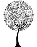 Floral tree outline silhouette Royalty Free Stock Photos