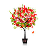 Floral tree in the pot for your design Royalty Free Stock Image