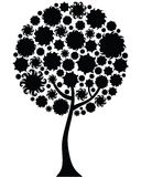 Floral tree silhouette Stock Image