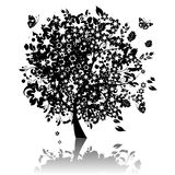 Floral tree silhouette black Stock Image