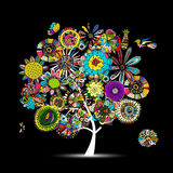 Floral tree, sketch for your design. Vector illustration Royalty Free Stock Image