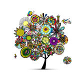 Floral tree, sketch for your design. Vector illustration Stock Photos