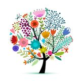 Floral tree, sketch for your design Stock Images