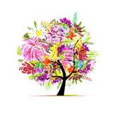 Floral tree for your design Stock Images