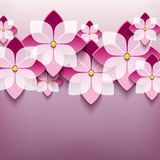Floral trendy background with 3d flower sakura Stock Photography