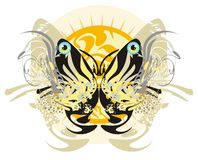 Floral tribal butterfly and rising sun Stock Photo