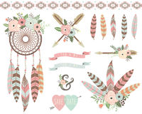 Floral Tribal Dreamcatcher Elements. A vector illustration of Floral Tribal Dreamcatcher Elements. Perfect for Weeding, valentine`s, Mother`s day and many more Royalty Free Stock Photos