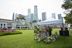 Floral tribute for former prime minister of Singapore Lee Kuan Yew. Royalty Free Stock Photo