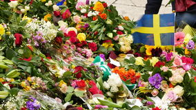 Floral tributes stock video