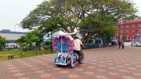 Floral Trishaw on Street of Melaka Stock Image