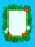 Floral tropical frame. vector exotic flowers illustration. background with jungle plants, palms leaves, sea texture. Vertical bord royalty free illustration