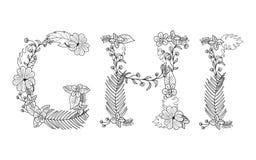 Floral tropical Letra G, H, I Imagem de Stock