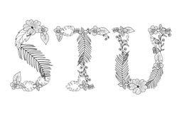 Floral tropical Letra S, T, U Fotografia de Stock Royalty Free
