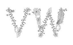Floral tropical Letra V, W Fotografía de archivo libre de regalías