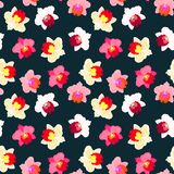 Floral tropical pattern with orchid flowers. Floral seamless vector pattern with tropical decor and orchid flowers in bright variety of pink, red, white and Royalty Free Stock Image