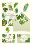 Floral tropical wedding set with isolated palm leaves,  hand dra. Wn in sketch style. Envelope, business cards, invitation. Vector illustration Stock Photo