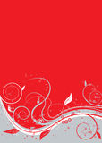 Floral twist red. Floral abstract background in red silver and white vector illustration