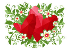 Floral two hearts background Royalty Free Stock Image