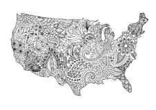 Floral USA map for design element and adult coloring book page. Vector illustration. Floral USA map  for design element and adult coloring book page. Vector Stock Photo