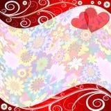 Floral valentine background. With translucent frame (Vector EPS 10 vector illustration