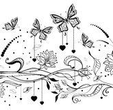 Floral Valentine background with butterflies. Illustration Stock Photos