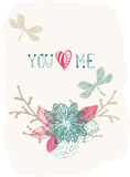 Floral Valentine background with dragonfly Royalty Free Stock Images