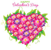 Floral Valentine background with heart shape stock illustration