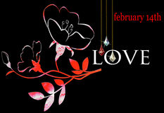 Floral Valentine on a black background for February 14 with LOVE Royalty Free Stock Image