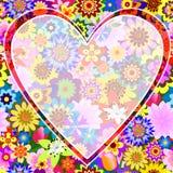 Floral valentine frame. With translucent heart ( EPS 10 royalty free illustration