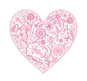 Floral  valentine heart. Vector illustration of  floral  valentine heart  isolated on white background Stock Image