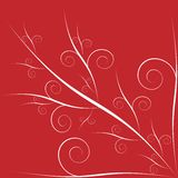 Floral valentine red background. Abstract hand drawn floral design on red background Stock Illustration