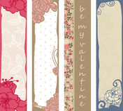 Floral Valentine's day banners. Four vertical floral Valentine's day banners Stock Images